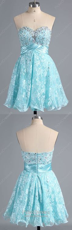 Short Prom Dresses Elegant, Blue Homecoming Dresses For Teens, A Line Party Dresses Sweetheart, Lace Sweet Sixteen Dresses Gorgeous #pickedresses #bluedresses #lacedresses #homecomingdresses