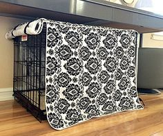 Black & White Damask Design Dog Pet Wire Kennel Crate Cage Cover (Small, Medium, Large, XL) (XL 42x28x31 - http://www.thepuppy.org/black-white-damask-design-dog-pet-wire-kennel-crate-cage-cover-small-medium-large-xl-xl-42x28x31/