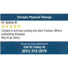 I limped in and was running only after 3 weeks. What a outstanding therapist. Way to go...