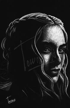 """""""Cersei Lannister"""" - 12x12 white charcoal on black paper."""
