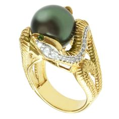 Michael Valitutti Sterling Silver South Sea Pearl, Chrome Diopside and Cubic Zirconia Ring (12 mm)