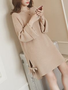 Round Neck Bowknot Plain Polyester Shift #Dress