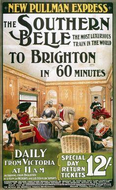 England - Sussex - Brighton - Brighton Belle train Travel Poster Print-  1800s