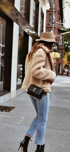 Fall outfit: teddy bear coat and YSL bag.