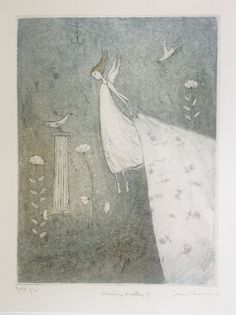 Emmi Vuorinen Drypoint Etching, Water Lilies, Drawing Ideas, Printmaking, Childrens Books, Angeles, Artists, Woman, Drawings