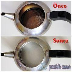 Doğal yontemlerle         Kararmış demliği, kireçlenmiş çaydanlığı ve kararmış metalleri temizlemek