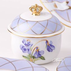 Look at the crown knob /24ct gold/ !    Tea Set for 2 Persons - Herend Sisi Violet-RI Flower decor. Herend porcelain tableware. Hand painted. Afternoon Tea