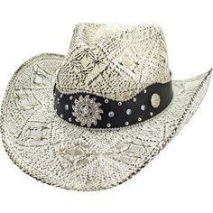 a6c04377300 Luxury Divas White Antiqued Straw Cowboy Hat with Jeweled Band Size Small