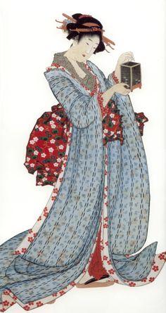 Katsushika Hokusai - Japanese Printmaking - Estampe - Beauties of the Spring and Autumn (left hanging scroll of pair) Japanese Prints, Japanese Design, Chinese Painting, Chinese Art, Vincent Van Gogh, Claude Monet, Japanese Illustration, Illustration Art, Sketches