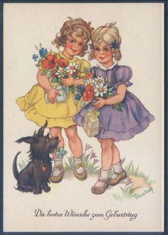 Künstlerkarte - sign. Elisabeth - Geburtstag ( K01172 ), Briefmarken-Versand-Welt - Briefmarken, Ansichtskarten und mehr