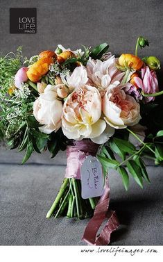 garden rose and ranunculus bouquet by Janie Medley Flora Design.  Love Life Images Photography