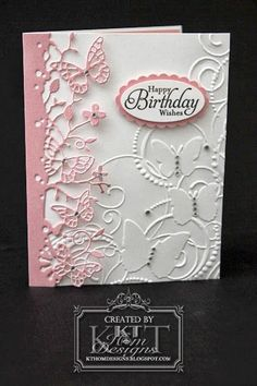 Butterfly embossing and diecut - pretty combination.