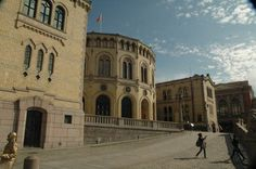 According to Wikipedia, politics in Norway take place in the framework of parliamentary representative democratic constitutional monarchy. Executive council: King's council, cabinet, led by the Prime Minister of Norway. Legislative council: government, Storting, elected within a multi-party system. The Judiciary is independent of the executive branch and the legislature. This is a picture of Norway's parliament building.