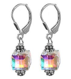 SCER013 Sterling Silver Crystal Designer Earrings Made with Swarovski Elements: Jewelry: Amazon.com