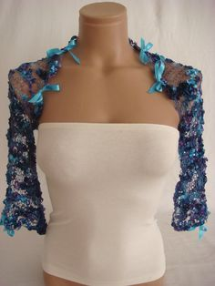 Hand knitted blue dark blue purple shrug by Arzu's Style $19.90