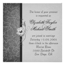Luxury Grey Damask Floral Wedding Invite