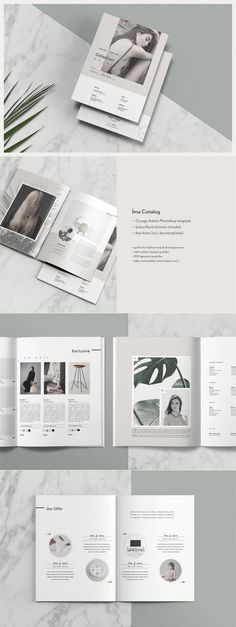 Catalog + Magazine PSD - Íma by Nonola on @creativemarket Ready for Print Magazine and Brochure template creative design and great covers, perfect for modern and stylish corporate appearance for business companies. Modern, simple, clean, minimal and feminine layout inspiration to grab some ideas.