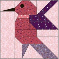 Free paper-pieced quilt block pattern for Heart Strings. Free Paper Piecing Patterns, Barn Quilt Patterns, Pattern Blocks, Pattern Paper, Colchas Quilt, Paper Pieced Quilts, Bird Quilt Blocks, Vogel Quilt, Animal Quilts