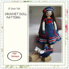 PATTERN, 17 ins tall crochet doll pattern by chepidolls on Etsy