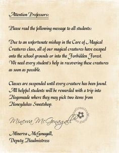 Potter Party Ideas really cute letter from Professor McG for Care of Magical Creatures class which is a scavenger hunt - use this?{}really cute letter from Professor McG for Care of Magical Creatures class which is a scavenger hunt - use this? Harry Potter Dvd, Cadeau Harry Potter, Harry Potter Party Games, Harry Potter Activities, Harry Potter Halloween Party, Harry Potter Classroom, Theme Harry Potter, Harry Potter Birthday, Potter School