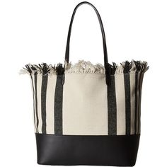 Loeffler Randall Double Handle Beach Tote (Black Vacchetta/Black... ($495) ❤ liked on Polyvore featuring bags, handbags, tote bags, tote purse, fringe handbags, canvas tote bag, handbags totes and beach tote bags
