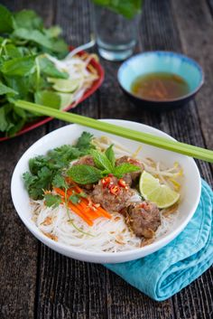 Vietnamese inspired Pork Balls on Rice Vermicelli | The Hungry Australian