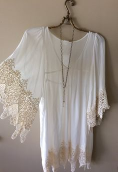 Image of Anthropologie collection L Space by Monica Wise crochet trim boho dress