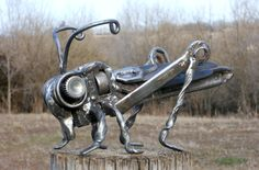 Grasshopper Metal Sculpture Insect Garden by rustaboutcreations