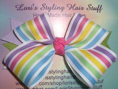 Boutique Girls Large Pastel Stripe Hair by lorisstylinghairstuf, $2.50