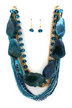 Sapphire Agate Statement Necklace on Emma Stine Limited