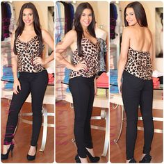 Leopard top with black skinny flying monkey jeans.  Shop Online at geidyscloset.com Follow us on Instagram Geidysclosetboutique
