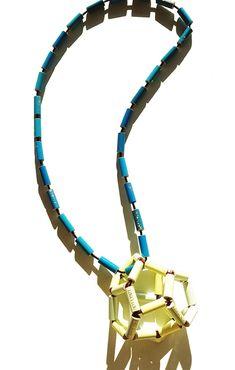 Maria Cristina Bellucci. Necklace: 14 dodecahedron 1, 2014. Felissimo coloured pencils, elastic. Lenght: 92 cm; pendant: 8 cm.