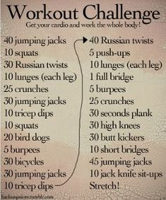Here's a great workout challenge for any day. If you don't like going to the gym, you can do this workout at home. Get moving people.
