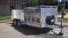 AWESOME custom made hunting trailer. 8 dog boxes, with storage above, and room on the back for ATV.