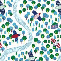 Cloud9 In the Forest Organic Cotton door NekomataTextiles