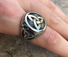 mens accessories – High Fashion For Men Viking Jewelry, Copper Jewelry, Mens Diamond Stud Earrings, Cool Rings For Men, Men's Jewelry Rings, Man Jewelry, Jewellery, Trinity Knot, Trinity Ring