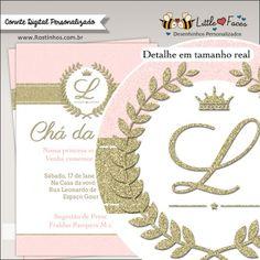 Convite Chá de Bebê Provençal Dourado Princesa para imprimir