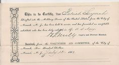 Civil War Document ~ DRAFT Substitute Certificate ~ Military Draft Substitute Certificate   Drafted Men in 1864 for the Civil War who have been exempt from the duty for the military and have furnished a substitute.