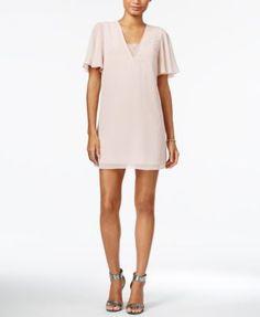 BCBGeneration Lace Chiffon Shift Dress | macys.com