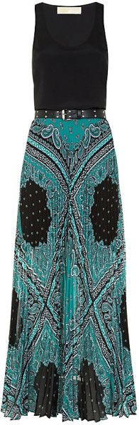 Michael By Michael Kors Pleated Paisley Maxi Dress in Multicolor (silver) - Lyst