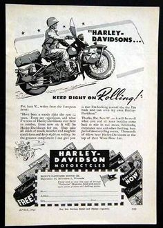 vintage harley ads | ... Harley Davidson *Keep Right on Rolling* WWII Army Private
