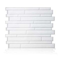 11.55 in. H x 9.65 in. W Mosaic Decorative Wall Tile Peel and Stick in Milano Blanco (6-Pack)