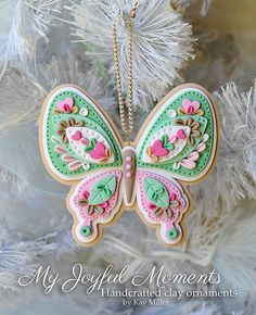 Handcrafted Polymer Clay Butterfly Ornament by Kay Miller on Etsy Polymer Clay Ornaments, Fimo Clay, Polymer Clay Charms, Polymer Clay Projects, Polymer Clay Creations, Polymer Clay Art, Clay Crafts, Polymer Clay Jewelry, Polymer Clay Christmas