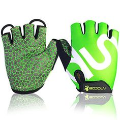 Cycling Gloves Mountain Bike Gloves Half Finger Road Racing Riding Gloves with Light Anti-slip Shock-absorbing Biking Gloves for Men and Women (Green, XL). The back of the hand using elastic mesh, breathable, absorbent, flexible, comfortable to wear. Back green ink personalized printing, individuality. Terry cloth thumb design, absorbent and easy to dry, user-friendly design. Built-in palm rest SBR, shock absorption, more suitable for riding sports. Silicone palm print, non-slip shock...