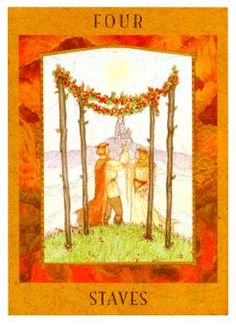 August 11 Tarot Card: Four of Wands (Goddess deck) This is a time of celebration and enjoyment, a time that's free of worry. There are infinite things in your life to be thankful for ~ raise a glass to them now