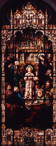Finding Jesus in the Temple - Stained Glass window at Sacred Heart Catholic Church, Tampa FL