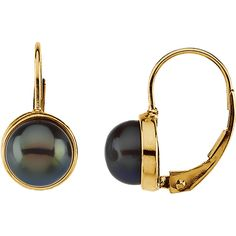 14kt Yellow 7-7.5mm Black Freshwater Cultured Pearl Lever Back Earrings