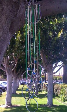 Crafty Wind Chime - What you will need        1 Whisk that you no longer use      10-12 Book rings (the metal rings that students sometimes hang index cards on)      1-2 Spools of colored ribbon (preferably spring colors!)      Beads, foam shapes or other decorations