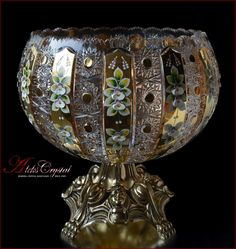 Cut Glass, Glass Art, Bohemia Crystal, Crystal Vase, Tea Set, Topaz, Antiques, Silver, Beautiful
