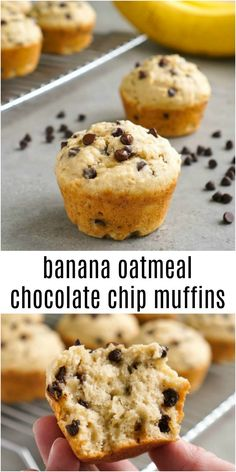 These banana oatmeal chocolate chips muffins are a delicious, healthy snack. The oats give them a hearty texture, and the chocolate chips make them taste like dessert!